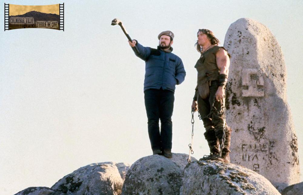 Arnold Schwarzenegger y John Milius rodando Cónan, el bárbaro en Colmenar Viejo