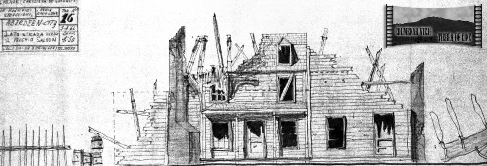 Boceto de modificaciones en el decorado city del oeste de la Dehesa de Navalvillar de Colmenar Viejo para el bueno el feo y el malo